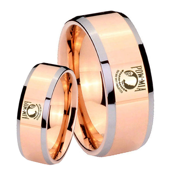 His Hers Military Pow Beveled Edges Rose Gold Tungsten Mens Engagement Band Set
