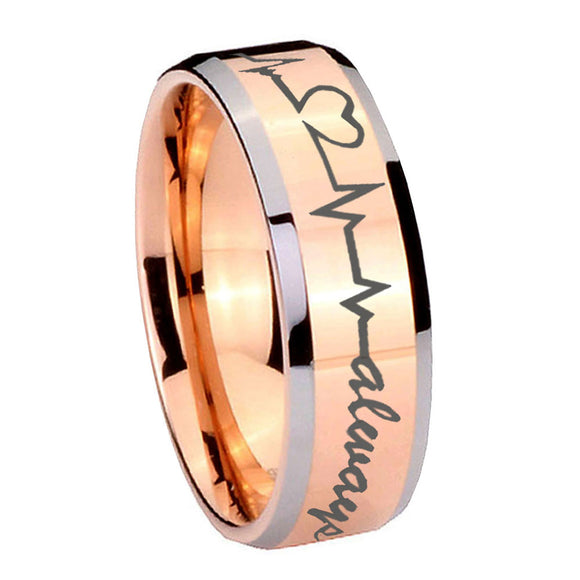 10mm Heart Beat forever Heart always Beveled Rose Gold Tungsten Rings for Men