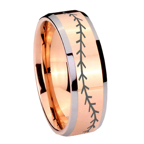 10mm Baseball Stitch Beveled Edges Rose Gold Tungsten Carbide Personalized Ring
