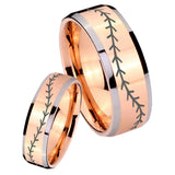 His Hers Baseball Stitch Beveled Edges Rose Gold Tungsten Men's Wedding Band Set
