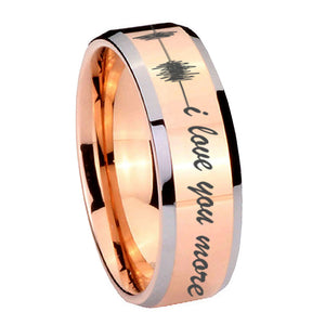 10mm Sound Wave, I love you more Beveled Edges Rose Gold Tungsten Rings for Men