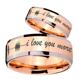 His Hers Sound Wave, I love you more Beveled Rose Gold Tungsten Engraved Ring Set