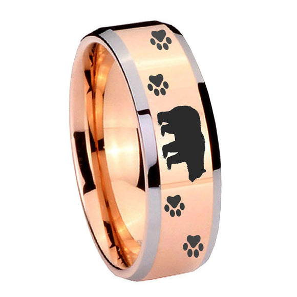 10mm Bear and Paw Beveled Edges Rose Gold Tungsten Carbide Bands Ring