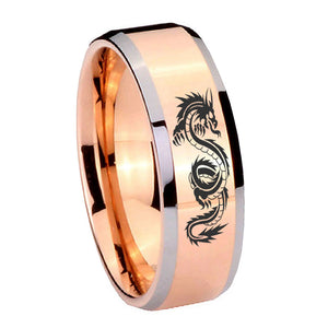 10mm Dragon Beveled Edges Rose Gold Tungsten Carbide Mens Anniversary Ring