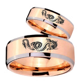 Bride and Groom Dragon Beveled Edges Rose Gold Tungsten Men's Ring Set