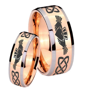 His Hers Irish Claddagh Beveled Edges Rose Gold Tungsten Wedding Band Ring Set