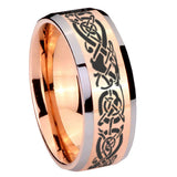 10mm Celtic Knot Dragon Beveled Edges Rose Gold Tungsten Men's Engagement Ring