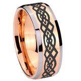 10mm Celtic Knot Beveled Edges Rose Gold Tungsten Carbide Mens Promise Ring