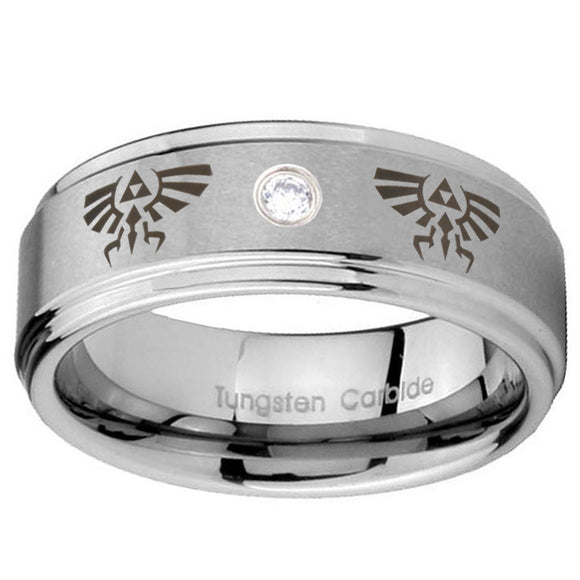 8mm Zelda Step Edges Silver Tungsten Carbide CZ Custom Ring for Men