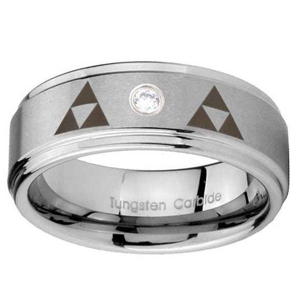 8mm Triangle Zelda Step Edges Silver Tungsten Carbide CZ Engraved Ring