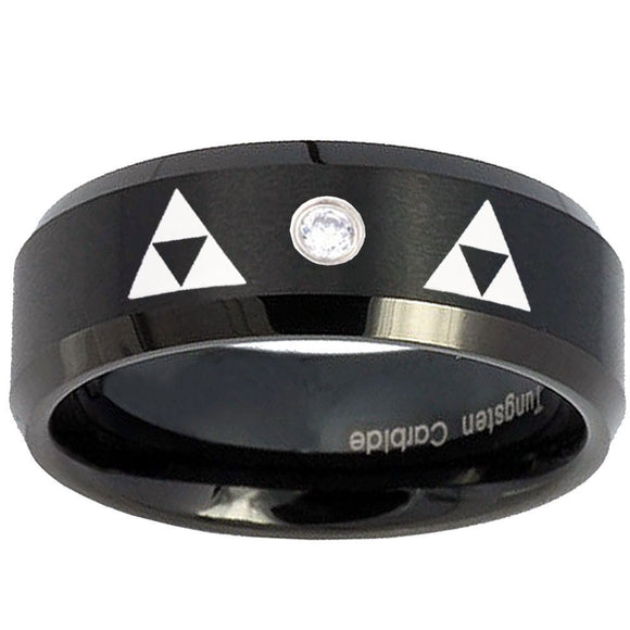 8mm Triangle Zelda Step Edges Silver Tungsten Carbide CZ Custom Ring for Men