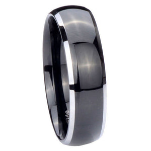 5MM Tungsten Carbide Shiny Black Silver Edges Dome Women Bands Ring