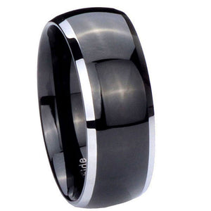 8MM Tungsten Carbide Shiny Black Silver Edges Dome Men Bands Ring