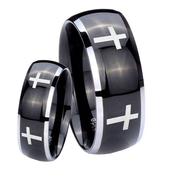 His and Hers Crosses Dome Glossy Black 2 Tone Tungsten Mens Promise Ring Set