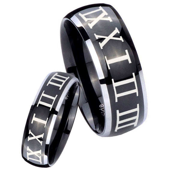 His Hers Roman Numeral Dome Glossy Black 2 Tone Tungsten Mens Promise Ring Set