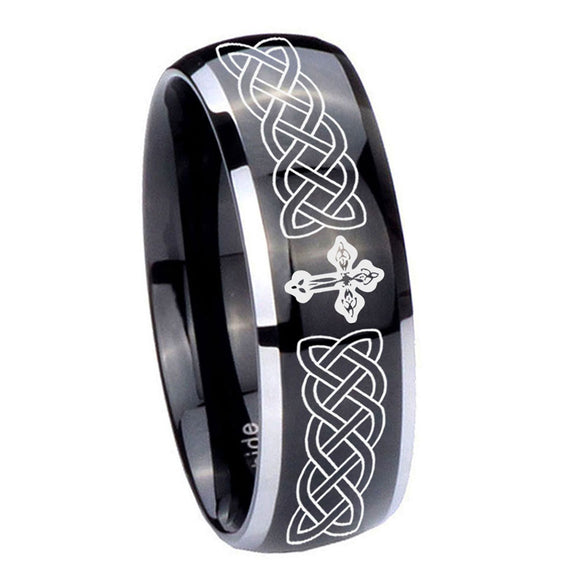 10mm Celtic Cross Dome Glossy Black 2 Tone Tungsten Carbide Custom Mens Ring