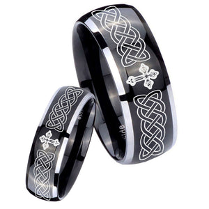 His Hers Celtic Cross Dome Glossy Black 2 Tone Tungsten Wedding Ring Set