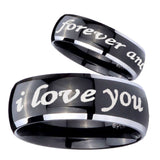 His Hers I Love You Forever and ever Dome Glossy Black 2 Tone Tungsten Mens Ring Set