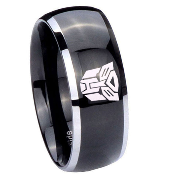 10mm Transformers Autobot Dome Glossy Black 2 Tone Tungsten Mens Bands Ring