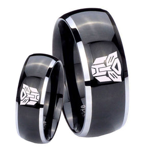 His Hers Transformers Autobot Dome Glossy Black 2 Tone Tungsten Mens Ring Set