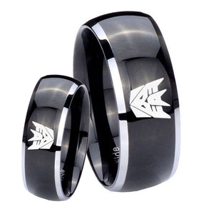 His Hers Decepticon Transformers Dome Glossy Black 2 Tone Tungsten Mens Ring Set