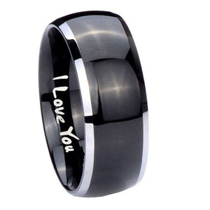 10mm I Love You Dome Glossy Black 2 Tone Tungsten Carbide Rings for Men