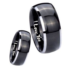 His Hers I Love You Dome Glossy Black 2 Tone Tungsten Men's Wedding Ring Set
