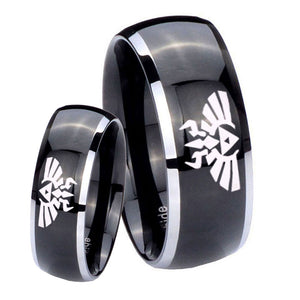 His Hers Zelda Skyward Sword Dome Glossy Black 2 Tone Tungsten Men's Ring Set