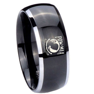10mm Military Pow Dome Glossy Black 2 Tone Tungsten Carbide Men's Ring