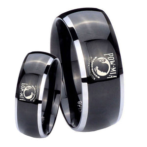 His Hers Military Pow Dome Glossy Black 2 Tone Tungsten Men's Ring Set