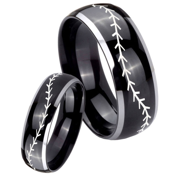 His Hers Baseball Stitch Dome Glossy Black 2 Tone Tungsten Men's Ring Set