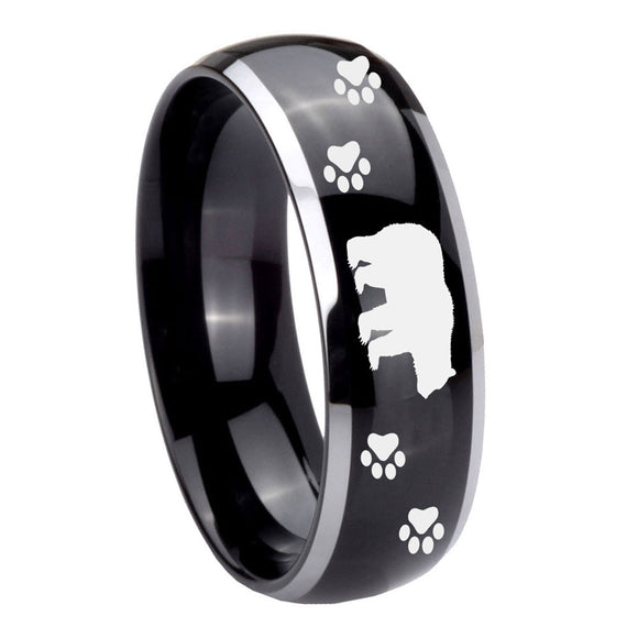 10mm Bear and Paw Dome Glossy Black 2 Tone Tungsten Carbide Custom Mens Ring