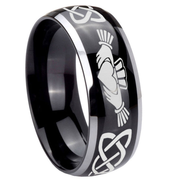 10mm Irish Claddagh Dome Glossy Black 2 Tone Tungsten Carbide Men's Engagement Ring