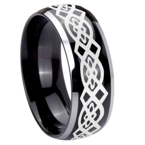 10mm Celtic Knot Dome Glossy Black 2 Tone Tungsten Carbide Men's Promise Rings