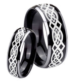 His Hers Celtic Knot Dome Glossy Black 2 Tone Tungsten Personalized Ring Set