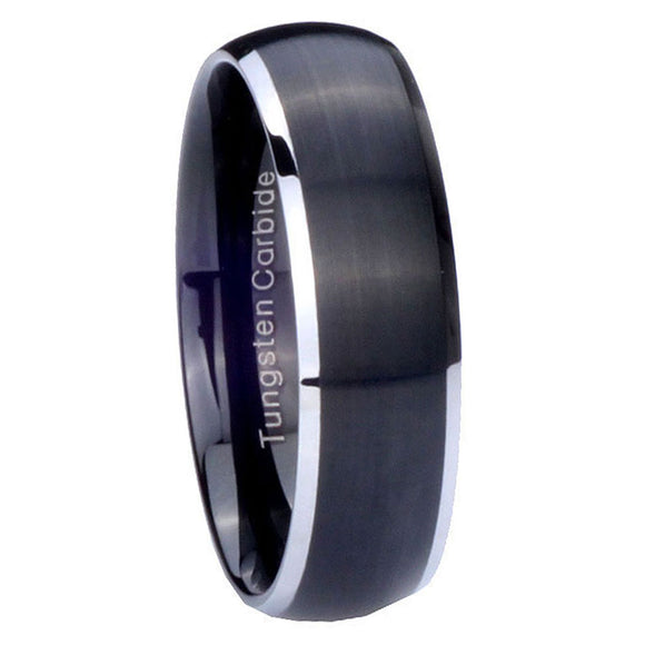 5MM Tungsten Carbide Matte Black Silver Edges Dome Women Bands Ring