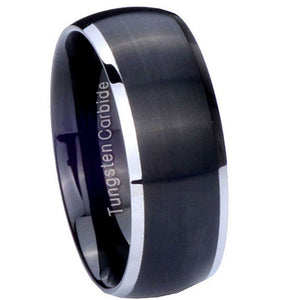 8MM Tungsten Carbide Matte Black Silver Edges Dome Men Bands Ring