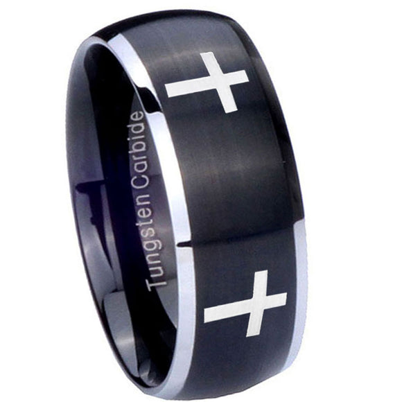 8mm Crosses Dome Brushed Black 2 Tone Tungsten Carbide Mens Ring Personalized