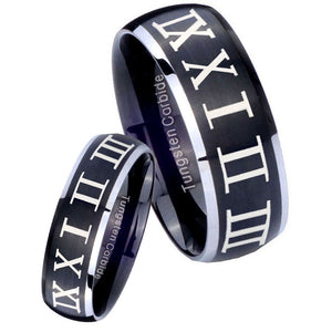 His Hers Roman Numeral Dome Brushed Black 2 Tone Tungsten Men's Ring Set