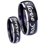 8mm I Love You Forever and ever Dome Brushed Black 2 Tone Tungsten Engraved Ring