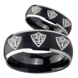 His Hers Multiple CTR Dome Brushed Black 2 Tone Tungsten Men's Bands Ring Set