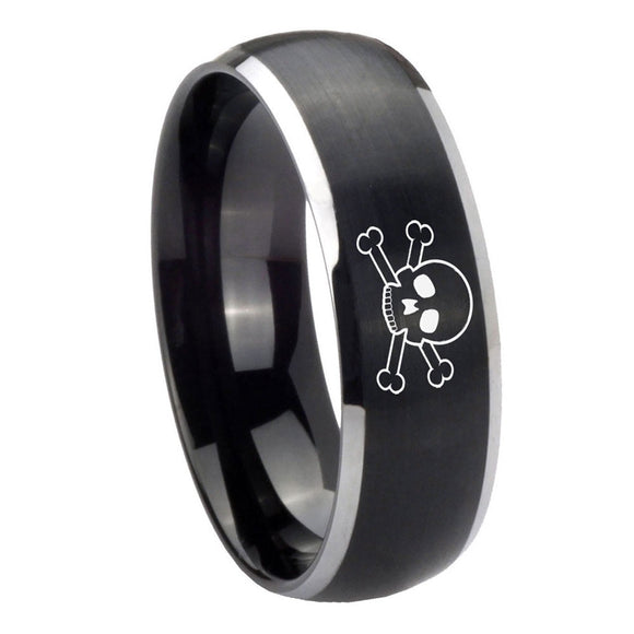 8mm Skull Dome Brushed Black 2 Tone Tungsten Carbide Men's Engagement Band
