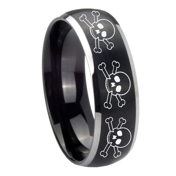 8mm Multiple Skull Dome Brushed Black 2 Tone Tungsten Carbide Bands Ring