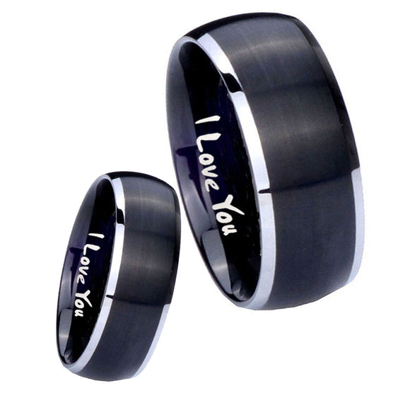 His Hers I Love You Dome Brushed Black 2 Tone Tungsten Anniversary Ring Set