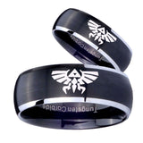 His Hers Zelda Skyward Sword Dome Brushed Black 2 Tone Tungsten Men's Band Set