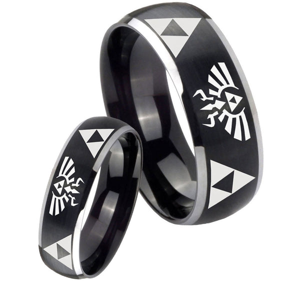 His Hers Legend of Zelda Dome Brushed Black 2 Tone Tungsten Anniversary Ring Set