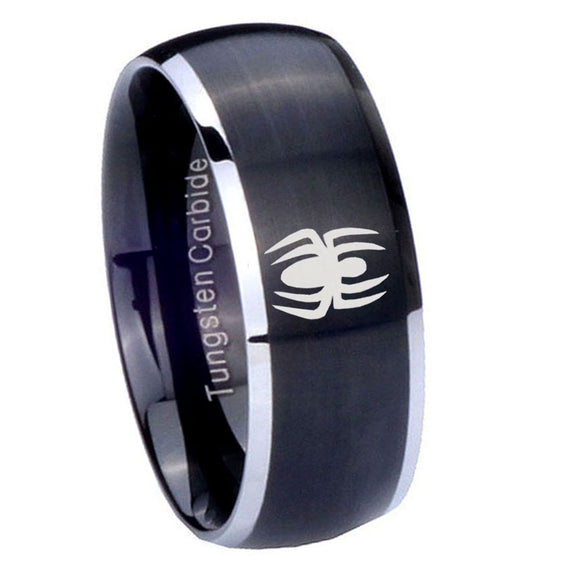 8mm Spiderman Dome Brushed Black 2 Tone Tungsten Carbide Wedding Engraving Ring