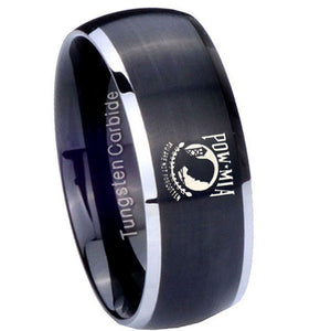 8mm Military Pow Dome Brushed Black 2 Tone Tungsten Carbide Personalized Ring