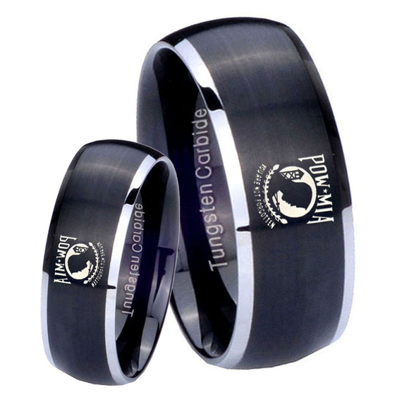 His Hers Military Pow Dome Brushed Black 2 Tone Tungsten Wedding Band Mens Set