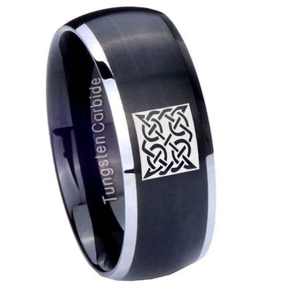 8mm Celtic Design Dome Brushed Black 2 Tone Tungsten Carbide Men's Band Ring